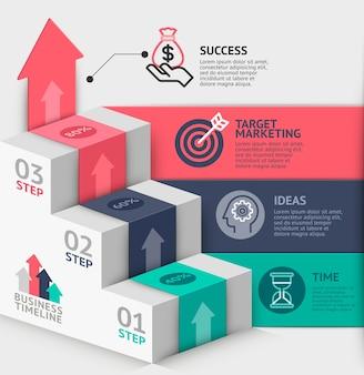 Modèle de diagramme d'escalier d'affaires.
