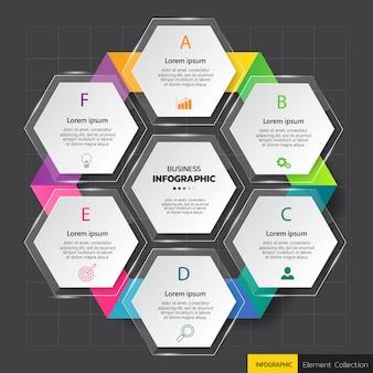 Modèle de diagramme infographie hexagone.