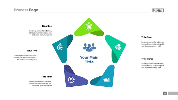 Modèle de diagramme de processus à cinq points. visualisation des données d'entreprise.