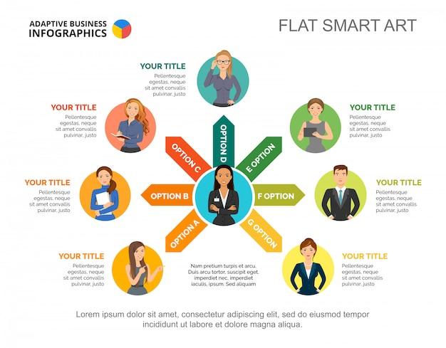 Modèle de diagramme de processus d'équipe de l'entreprise pour la présentation.
