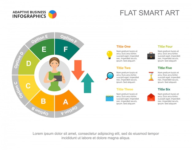 Modèle de diagramme de processus de workflow en six étapes pour la présentation. visualisation des données d'entreprise
