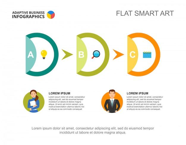 Modèle de diagramme de processus de workflow en trois étapes pour la présentation. données commerciales.