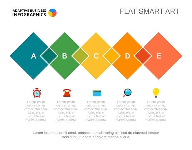 Modèle de diapositive d'approche cinq étapes