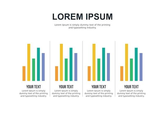 Modèle de diapositive de comparaison de quatre graphiques et statistiques