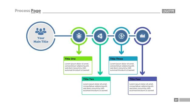 Modèle de diapositive de diagramme de processus en quatre étapes. données commerciales organigramme, diagramme