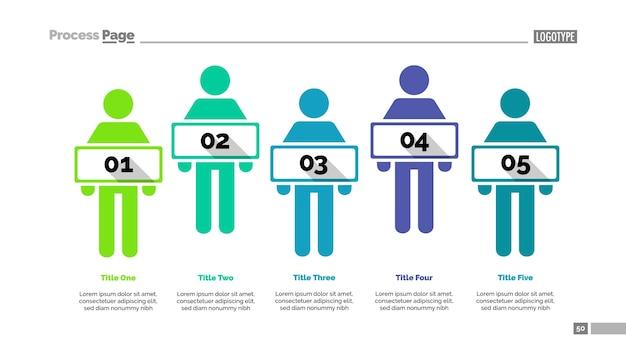 Modèle de diapositive d'équipe de cinq personnes