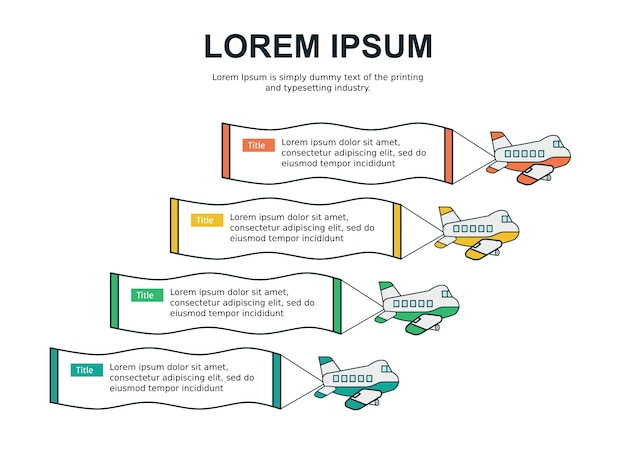 Modèle de diapositive infographie et statistiques avec avion