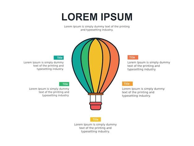 Modèle de diapositive infographie et statistiques avec ballon à air
