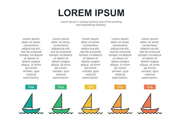Modèle de diapositive infographie et statistiques avec bateau
