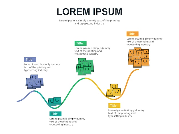 Modèle de diapositive infographie et statistiques de profit avec le thème de la boutique