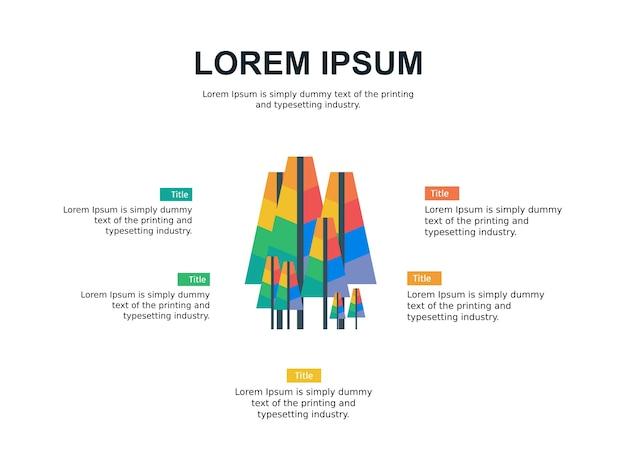 Modèle de diapositive infographie et statistiques avec le thème de l'arbre