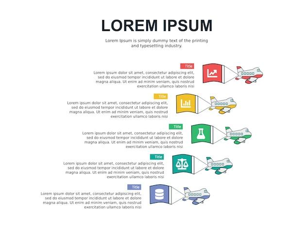 Modèle de diapositive infographie et statistiques avec thème avion