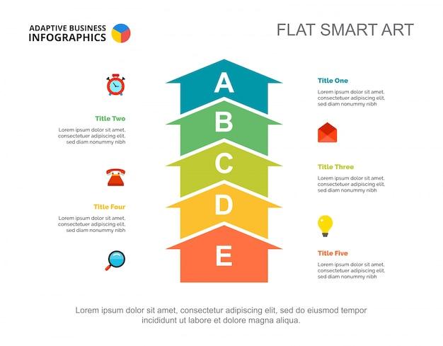 Modèle de diapositive de planification de cinq flèches