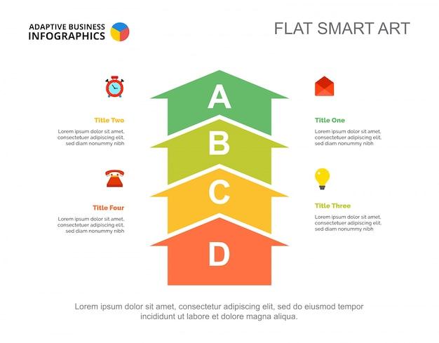 Modèle de diapositive de planification de quatre flèches
