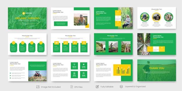 Modèle de diapositive de présentation de l'agriculture biologique ou modèle de présentation powerpoint de la ferme agricole
