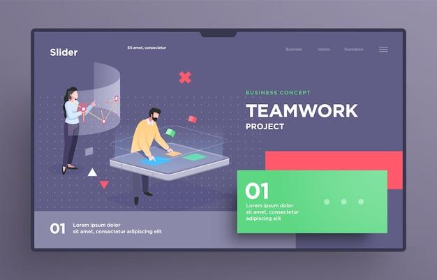 Modèle de diapositive de présentation ou page de destination pour les sites web ou les applications illustration du concept d'entreprise