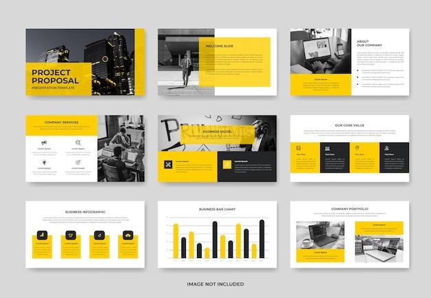 Modèle de diapositive de présentation de proposition de projet d'entreprise minimale ou modèle pwoerpoint d'entreprise