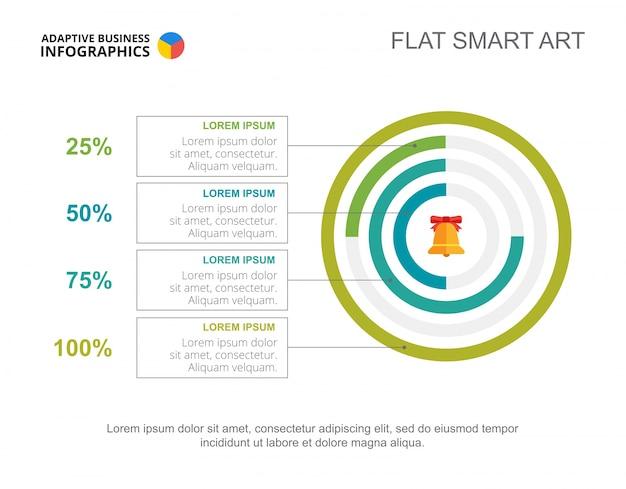 Modèle de diapositive de quatre options donut chart