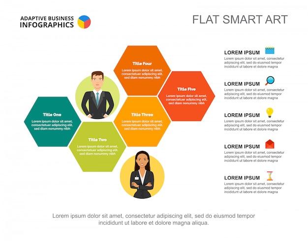 Modèle de diapositive de stratégie d'entreprise. données commerciales graphique, graphique