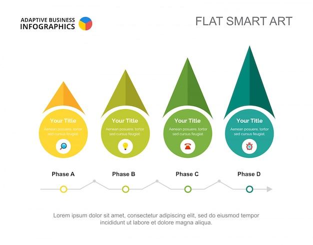 Modèle de diapositive de stratégie quatre flèches