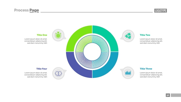 Modèle de diapositive de stratégie de quatre secteurs