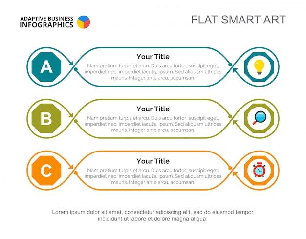 Modèle de diapositive de stratégie trois étapes