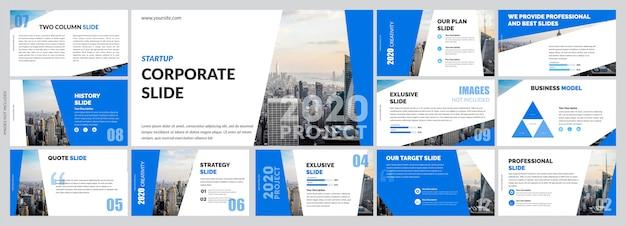 Modèle de diapositives bleues simples