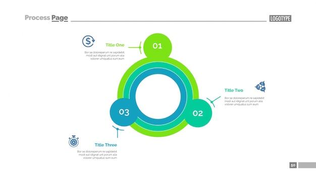 Modèle de diapositives à diagramme circulaire peu répandu