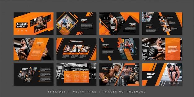 Modèle de diapositives de présentation fitness et gym
