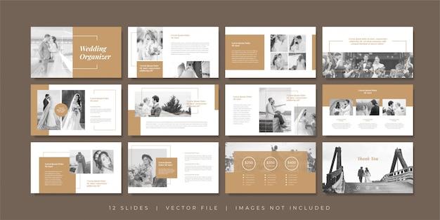 Modèle de diapositives de présentation de planificateur de mariage minimal