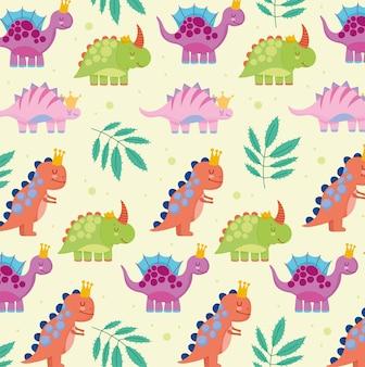 Modèle De Dinosaures Mignons Vecteur Premium