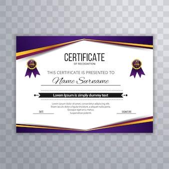 Modèle de diplôme certificat abstrait prime prime design