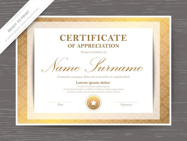 Modèle de diplôme de certificat d'appréciation d'or
