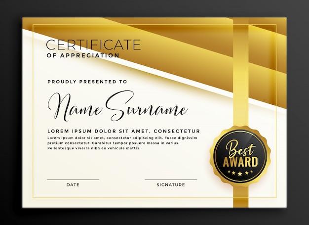 Modèle de diplôme de certificat d'or premium