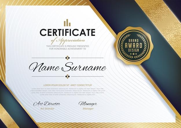 Modèle de diplôme de certificat premium