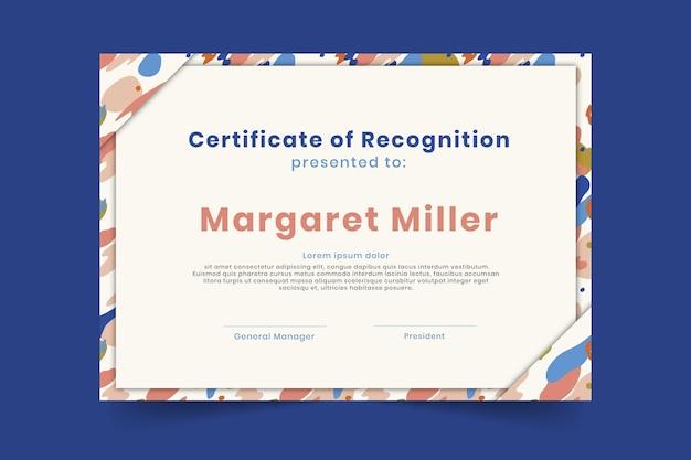 Modèle de diplôme de certificat de reconnaissance