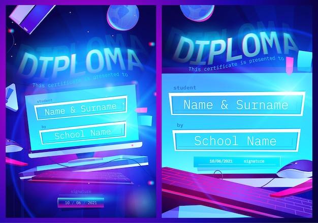 Modèle de diplôme avec écran d'ordinateur de dessin animé