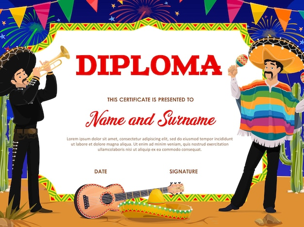 Modèle de diplôme d'éducation scolaire avec des musiciens mexicains de dessin animé cinco de mayo mariachi