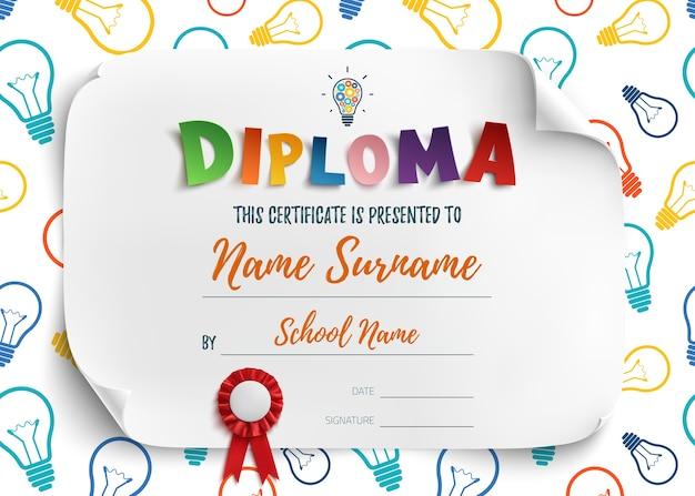 Modèle de diplôme pour l'école maternelle des enfants, fond de certificat. illustration