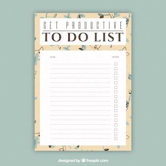 Modèle de document pour écrire des choses à faire