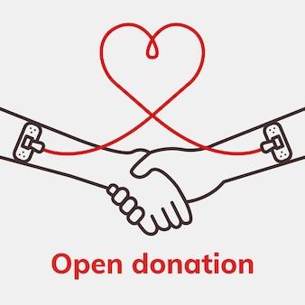 Modèle de don de charité ouvert vecteur campagne de don de sang publicité sur les réseaux sociaux dans un style minimal