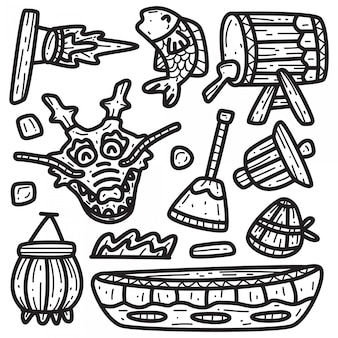 Modèle de doodle de dessin animé de bateau dragon
