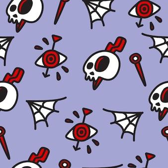 Modèle de doodle de dessin animé halloween