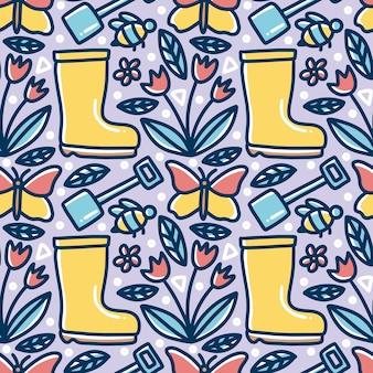 Modèle de doodle de dessin à la main de temps de jardinage avec des icônes et des éléments de conception