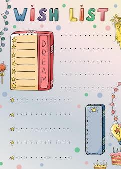 Modèle de doodle avec liste de souhaits créative.