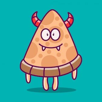 Modèle de doodle de monstre kawaii