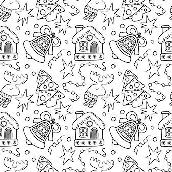 Modèle de doodle de noël sans couture avec cloche de maison et arbre de noël