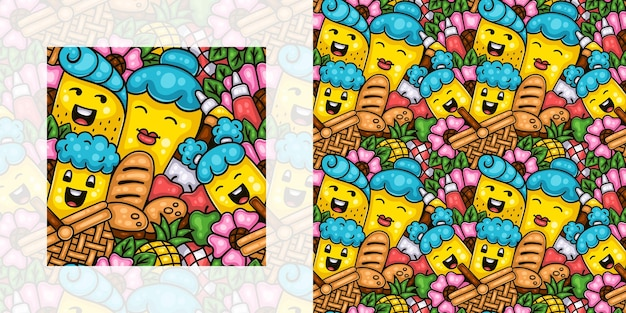 Modèle de doodle sans couture de printemps de l'heure du pique-nique en famille