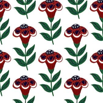 Modèle de doodle sans soudure isolé avec des silhouettes de fleurs folkloriques rouges.