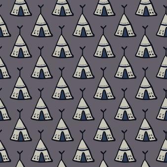 Modèle de doodle sans soudure ornement wigwam. éléments tribaux simples sur fond gris foncé.